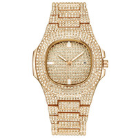 Wholesale alloy band watches resale online - Hip Hop Bling Diamond Watch For Men Gold Stainless Steel Band Men s Business Quartz Watches Man Waterproof Relogio Masculino drop shipping