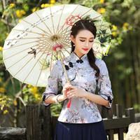 traditionelle lange tops großhandel-2018 Sommer Hanfu Cheongsam Tops Frauen chinesischen alten langen Ärmeln Tops traditionellen Hanfu weiblichen Mädchen Tang Anzug V859