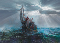 Wholesale sea home decor resale online - Yongsung Kim PEACE BE STILL Jesus Calming the Sea Home Decor HD Print Oil Painting On Canvas Wall Art Canvas Pictures