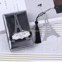 marcadores estacionários venda por atacado-Bookmarks de metal sliver presente Borlas Torre Eiffel Bookmarks de Aço Inoxidável marcador estacionário Favores Do Casamento Presente DHL Frete Grátis