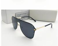 óculos claros uv venda por atacado-Novo estilo 2019 Versace medusa óculos de sol metade do quadro das mulheres dos homens designer de marca proteção uv óculos de sol lente clara e caixa Original