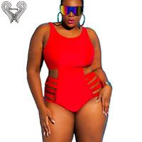 Wholesale plus size strappy swimwear online - Plus Size Swimsuit Push Up Swimwear Women Bandage Bathing Suits Strappy Swimsuits Large Size Monokini Badpak Female Fatkini Y19051801