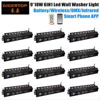 Wholesale 12 houses online - Gigertop Units x18w rgbwa uv in1 battery powered wireless g stage led wall washer light black color housing phone app remote control