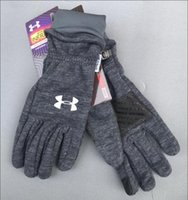 Wholesale winter gloves for men for sale - Group buy 2019 Newest Fashion Classic UA brands movement outdoor Windproof knitted composite gloves for men and women with velvety warm leisure gloves