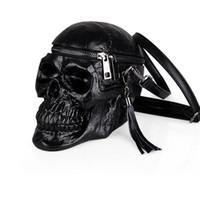 bolso negro de la motocicleta al por mayor-FIRECLUB Bolso de Las Mujeres Divertido Cabeza de Esqueleto Bolso Negro Hombres Paquete Único Diseñador de Moda Satchel Paquete Cráneo Moto Bolsas