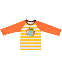 Wholesale baby boys long sleeved t shirt resale online - Baby Kids Striped T Shirt Pumpkin Embroidery Patchwork Long Sleeve Tops Kids Casual Clothes Girls Boy Clothes Boy Clothing