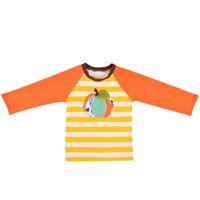 çocuklar için çizgili tişörtler toptan satış-Bebek Çocuk Çizgili T-Shirt Kabak Nakış Patchwork Uzun Kollu Çocuklar Giysi Tasarımcısı Kızlar Erkek Giysi Tasarımcısı Erkek Giyim Tops