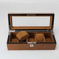 relojes de pulsera usados al por mayor-Piel de madera Caja de relojes de lujo Caja 5 Rejillas Reloj de pulsera Embalaje Hogar Business Classsic para relojes de marca Pantalla / Uso de almacenamiento