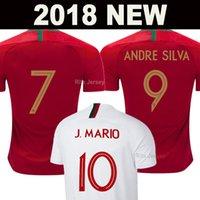 camiseta de fútbol del equipo nacional de tailandia al por mayor-2018 Camiseta Portugal de fútbol soccer jersey football shirts RONALDO ANDRE SILVA Copa del mundo PEPE J.MARIO QUARESMA BERNARDO NANI EDER equipo nacional mejor calidad de AAA Tailandia