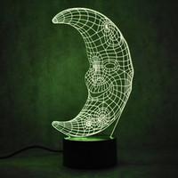 feux de forme de dessin animé achat en gros de-Creative Kid 3D LED Veilleuse Colorée Visuel Gradient Visuel Cartoon Forme De La Lune Maison Atmosphère Décor Sommeil Éclairage Cadeaux Lampe De Bureau