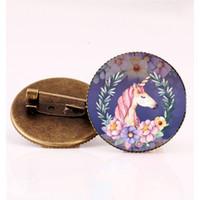 ingrosso regali bronzo cavallo-Retro animale cavallo bronzo spille a mano in vetro cabochon animale cavallo spilla per donna uomo gioielli regali