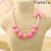 Wholesale 2018 Fashion Jewelry Beads Necklace Little Girl Baby Kids Princess Bubblegum Necklace For Party Dress Up Birthday Gifts