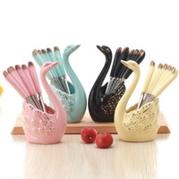 cisnes de cerâmica venda por atacado-6PCS criativas Frutas Forks Spoons Kit Swan Ceramic Sobremesa Forks Dinnerware Set Louça Kitchen Restaurant Acessórios