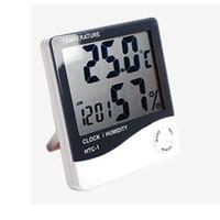 pantalla electrónica interior al por mayor-XU0318 2019 A Reloj electrónico de temperatura HTC-1 LCD Medidor de humedad interior Alarma diaria y pantalla de calendario con paquete al por menor