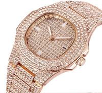 дамский мужской бриллиант оптовых-Новые бриллианты Золотые мужские часы Часы Стальной алмазный циферблат Роскошные кварцевые мужские женские женские Автоматические часы со льдом Дата Пары Наручные часы