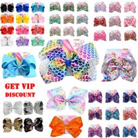 Wholesale flower girls white hair clips for sale - Group buy 8 Inch JoJo Siwa Bows Hair Bows With Clip For Girls Kids Unicorn hair Bows Series Mix Buy