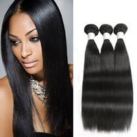 Wholesale human hair extentions colors resale online - Dressmaker Straight Hair Weave Bundles Unprocessed Brazilian Virgin Human Hair Extentions Natural Color