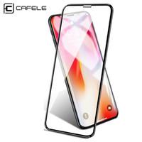 limpia la pantalla del iphone al por mayor-CAFELE Protector de pantalla para iPhone X XR XS Vidrio templado máximo 6D Borde curvo HD Limpie la cubierta completa Toughened Glass protector