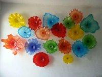 ingrosso 12v interruttore a parete-Piatti floreali multicolore Wall Art per la decorazione domestica Apparecchio in vetro moderno Murano Flower Glass Piatti sospesi Wall Art