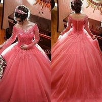Wholesale sheer crew formal long prom dress resale online - Exquisite Long Sleeve Quinceanera Dresses Ball Lace Tulle A Line Sheer Coral Plus Size Girl Prom Party Dress Formal Gowns Custom Made