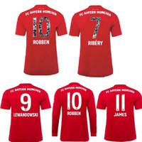 james long venda por atacado-2019 Bayern de Munique RIBERY ROBBEN Adeus jogo Especial Fonte Manga Comprida James WAGNER LEWANDOWSKI Bayern Futebol Camisas de Futebol Jersey 19 20