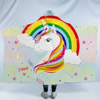 Wholesale 3d unicorn bedding online - 8 Styles Unicorn Rainbow Garland D Printed Plush Hooded Blanket for Beds Warm Wearable Soft Fleece Throw Blankets