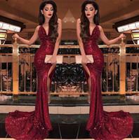 Wholesale vestidos de fiesta for sale - 2019 Burgundy Halter Sequins Mermaid Long Prom Dresses Sexy High Slits Vestidos De Fiesta Sweep Train Formal Party Prom Gowns BC0866