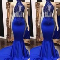 ingrosso blu vedere attraverso abito da sera-Royal Blue Halter Sexy Prom Dresses Vedere attraverso perline paillettes Satin Mermaid abiti da sera Appliques Backless Cocktail Party Dress