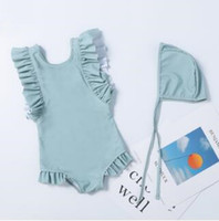 Wholesale 2t one piece bathing suits for sale - Group buy Kids Swimwear Girls One Pieces Bikini Swim Caps Baby Summer Ruffle Swimsuit Shaggy Swimming Rompers Surf Beachwear Bathing Suits AYP5492