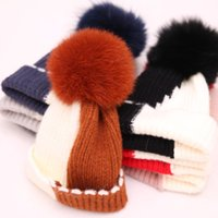 Wholesale crochet fox hat for sale - Group buy Adult Kids Knit Hats Winter Wool Hat Gorro Bonnet Cap With Fox Ball Warm Beanies Outdoor Patchwork Knitted Caps GGA2538