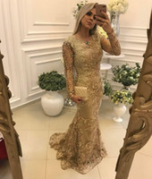 Wholesale new sexy chocolate tulle mermaid resale online - 2019 New Arrival Luxury Gold Mermaid Evening Dresses Jewel Neck Lace Appliques Beaded Pearls Long Sleeves Sweep Train Plus Size Prom Gowns