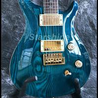 ingrosso chitarra elettrica tremolo ponti-YL-PR5S Chitarra elettrica Solid ASH Top Gold Hardware Tremolo Bridge con intarsio Bird Bar