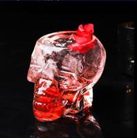 ingrosso tazze di birra del cranio pirata-Bicchieri di vetro trasparente teschio Cristallo Testa di cranio Vodka Bicchierino per il vino Bicchierino per bere Scheletro Pirata Vaccum Birra Tazza di vetro CLS338
