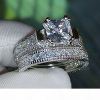 Wholesale 14k white gold diamond wedding bands for sale - Group buy Luxury Size Retro Princess Cut k white gold filled topaz simulated diamonds Wedding Ring set mother s day gift with box