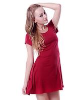calções de malha jersey venda por atacado-Jersey de algodão Casual das mulheres de HDE malha manga curta Slip-On Mini Skater vestido