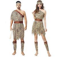 terno dos indianos dos homens venda por atacado-Partido Cosplay Traje Do Dia Das Bruxas Tema 7 Estilo Original Savage Indígena Leopardo Indiano Roupas Set Adulto Homens Mulheres Partido Suit 06
