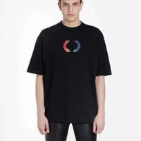 свободные случайные рубашки оптовых-18FW BLCG Rainbow Wheat Tee Мода Письмо Печатный Дышащая Футболка Повседневная Свободная Улица Crewneck Пара Футболка HFTTTX111