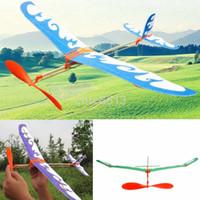 Wholesale glider toys online - foam elastic powered glider plane thunderbird kit flying model aircraft toy for kids boys girls gift MMA1117