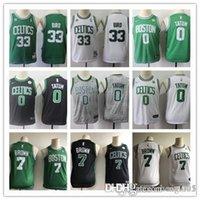 camisas pretas da juventude do basquetebol venda por atacado-Mens Womens Juventude Cidadeedição BostonCeltics # 33 Larry Bird 7 JaylenBrown preto verde 0 Jayson Tatum Basketball Jerseys Branco