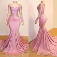 vestidos de noche de oro rosa al por mayor-2020 New Blush Pink Mermaid Prom Dresses Jewel Neck Mangas largas transparentes con apliques de encaje dorado Sweep Train Vestido de fiesta formal Vestidos de noche