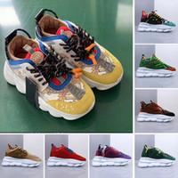 ayakkabı tabanları için kauçuk toptan satış-Sarı Zincir Reaksiyon Sneaker Eğitmenler Mens Womens Sneakers Hafif Zincir Bağlantılı Kauçuk Taban Ayakkabı Tasarımcısı sneakers Moda Ayakkabı