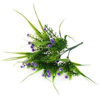 lila stern blume großhandel-Simulation Stern Gras Dekoration Kunststoff Blume Hirtensterne Simulation Grünpflanze Künstliche Blume Lila