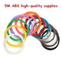 трехцветный принтер оптовых-ТОП 20 цветов 5 м / цвет 3D-принтер накаливания ABS / PLA 1,75 мм пластиковый материал для 3D ручка рисования и печати игрушки DIY печати рисунок пером
