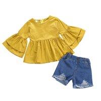 kız fermuar kot toptan satış-Toptan 2019 tasarımcı kız bebek giysileri 2 parça kıyafetler ile jean şort flare kollu fermuar giyim setleri çocuklar giysi tasarımcısı kızlar