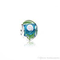925 murano glasperlen großhandel-Günstige Murano Loch Perlen 925 Silber Gewinde Multicolor Lampwork Glas Charms Pandora Armbänder Halskette Schmuck Zubehör PDZ14