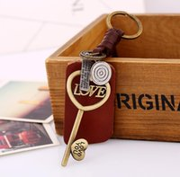 Wholesale love couple keyrings for sale - Group buy Hollow Love Key Pendant Heart Keychain Handmade Genuine Leather Woven Key Chain Holders For Lover Couple Bag Car Keyring