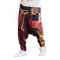 pantalones de lino estilo de los hombres al por mayor-Hombres de verano Pantalones flor Pantalones de algodón de impresión de los hombres Pantalones de lino masculino Hombre suelto estilo chino playa