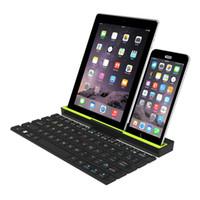 складной смартфон оптовых-Портативная складная беспроводная Bluetooth-клавиатура Roll Up Quick Response для смартфонов планшетных ПК с держателем
