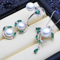 ensemble de pendentifs bijoux de perles achat en gros de-FENASY 925 Silver Pearl Emerald Sterling Parures Boucles d'oreilles naturelles collier pendentif Bohème Pierres femmes Anneau Vert