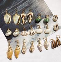artisanat de bricolage achat en gros de-Conque de mer naturel coquille charmes boucles d'oreilles or jante pendentif boucle d'oreille bricolage artisanat fabrication de bijoux